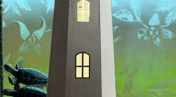 3d svg lighthouse tealight holder digital file etsy for 3d paper lighthouse template