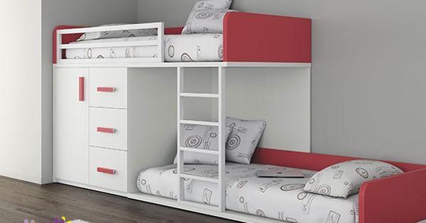 Habitaci n infantil con 2 camas tipo tren armario camas - Camas tipo tren ...