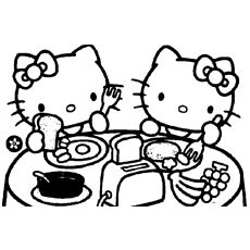 Kitty And Mimmy Having Breakfast Coloring Pages Hello Kitty Colouring Pages Hello Kitty Coloring Hello Kitty Art