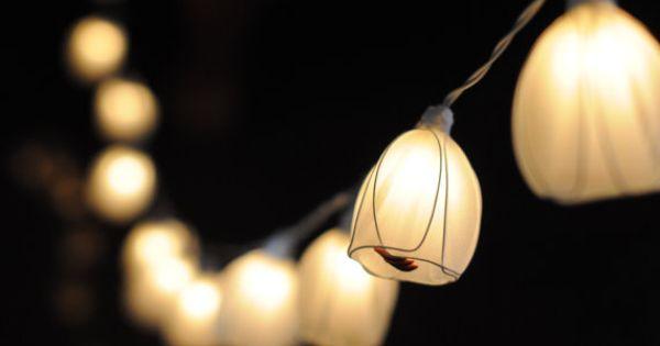 Floral Lantern String Lights : 20 white tulip hanging lantern string light wedding lantern party fairy light bedroom floral ...
