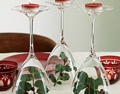 Wine Glass Tea Light Candle Holders