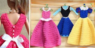 Croche Para Barbie Roupinhas E Vestidos Das Princesas Disney