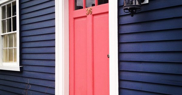 Navy house, coral door... Want a red door though!