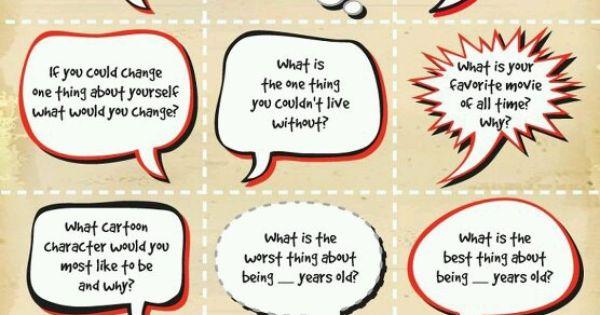 Conversation starters | Social Butterfly -- Junior Girl ...
