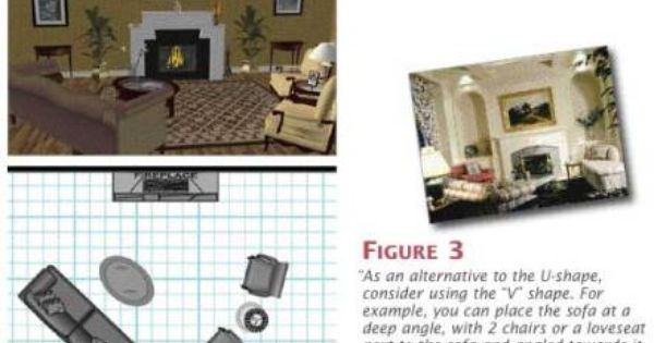 V Shaped Furniture Arrangement Around A Fireplace With Images