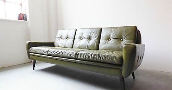 #1960s Danish Green #leather Sofa By Skipper Furniture Vintage #retro  Mid Century