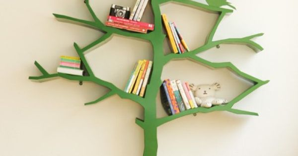 Tree inspired book shelves. Cute for kids room.
