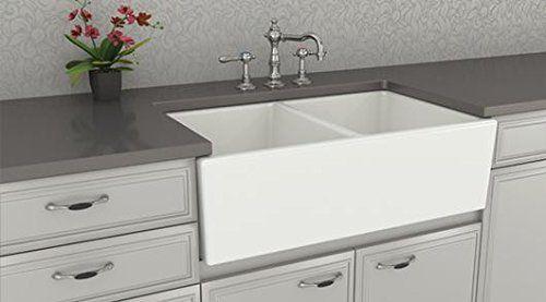 Farmhouse Kitchen Sink White Double Bowl Fireclay With Apron