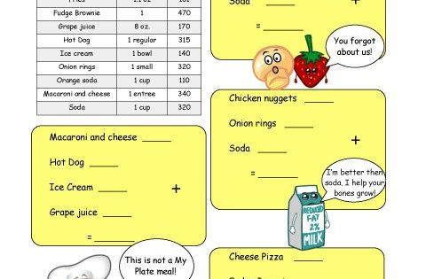 calorie count math worksheet for elementary school children high calorie dinner healthy eats. Black Bedroom Furniture Sets. Home Design Ideas