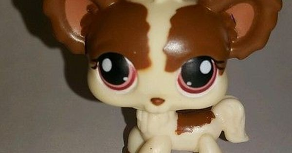 Littlest Pet Shop Brown Cream Chihuahua Dog Red Eyes 385 Preowned