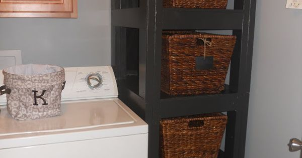 diy laundry room organization basket holder my blog pinterest washers dryers and tall shelves. Black Bedroom Furniture Sets. Home Design Ideas