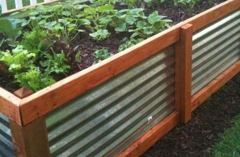 Corrugated metal and wood raised garden bed urban farmer pinterest gardens raised for Corrugated metal raised garden beds