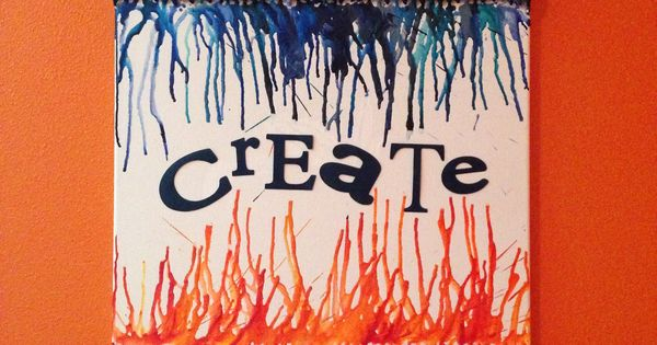 melted crayon art and cricut lettering