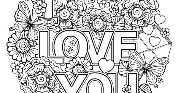 Valentine's Day Coloring Page: I Love You