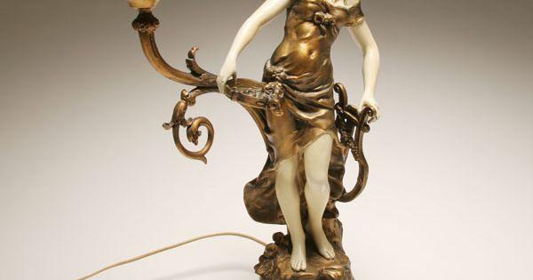 Art Nouveau spelter figural lamp, | Antique Lamps ...