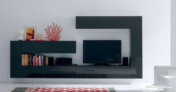 Mueble lacado gris brillo de salon verge for Mueble salon lacado alto brillo