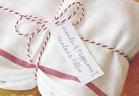 diy headache pillow: dish towel, rice, essential oils