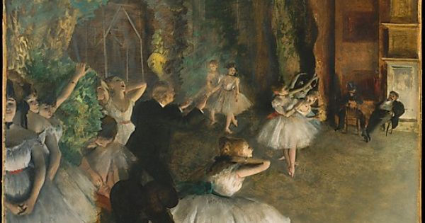 EDGAR DEGAS (French Impressionist): Rehearsal of the Ballet Onstage, c. 1874. Metropolitan