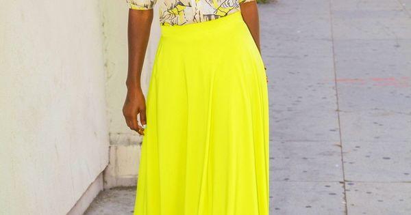 Beautiful color Vintage Shirt + Neon Maxi Circle Skirt
