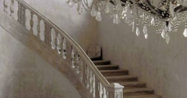 ~ Chateau de moissac, Provence, France. Beautiful stairs and chandelier that I