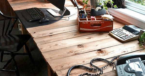 A farm table styled desk made out of PALLET boards - by
