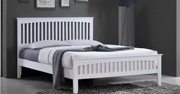 New White Solid Country Wooden Wood Pine Bed Frame Shaker Style