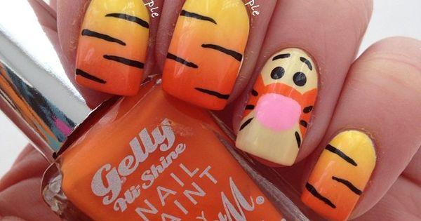 Tigger Inspired Nails. Love Tigger. Need to do this! | Disney Nails