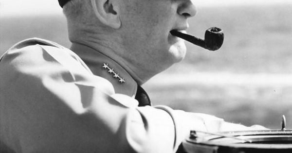Photo Admiral Burke Smoking A Pipe Aboard A Ship Circa