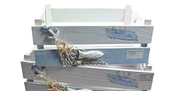 Set de 2 cajas de madera marino manualidades crafts - Manualidades caja de madera ...