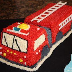 Admirable Fire Engine Birthday Cake And Cookies Firetruck Cake Truck Personalised Birthday Cards Beptaeletsinfo