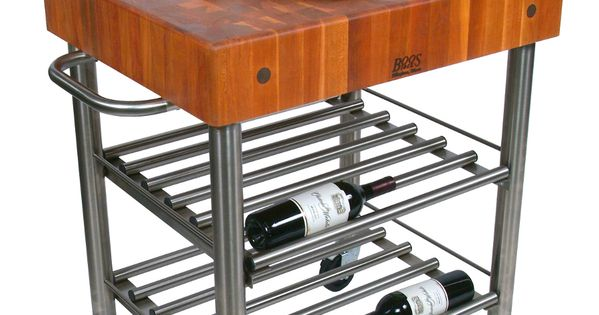 Cherry cucina d 39 amico wine cart 5 boos block on stainless steel at - D amico cucina ...