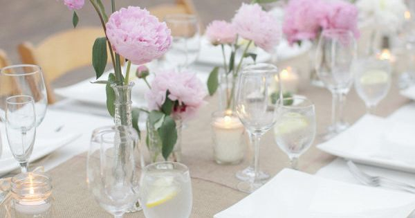 burlap table runner, pink peonies