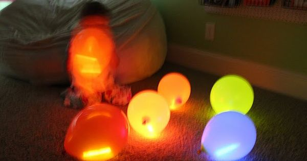Glow sticks in balloons. This would be cute and fun for a backyard party! | See more about Glow Sticks, Glow and Sticks.