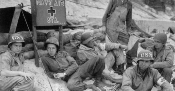 in this photo  us navy aid station on utah beach   picture