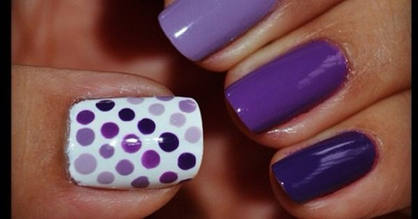 Purple ombre polka dot nail art