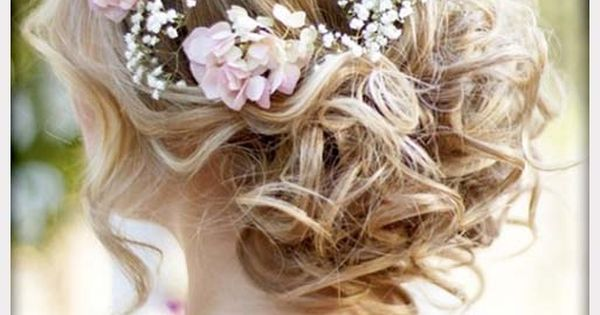 Wedding Flowers, Wavy Curly Updo Wedding Hairstyle With