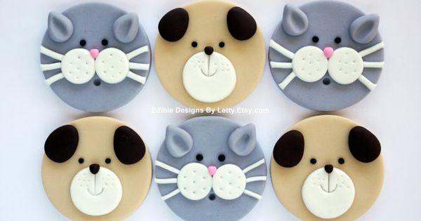 12 Edible Fondant Dog Puppy & Cat Kitty Cupcake Toppers