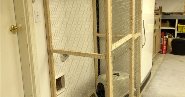 Litter Box Enclosure In The Garage Accessed By Cat Door In