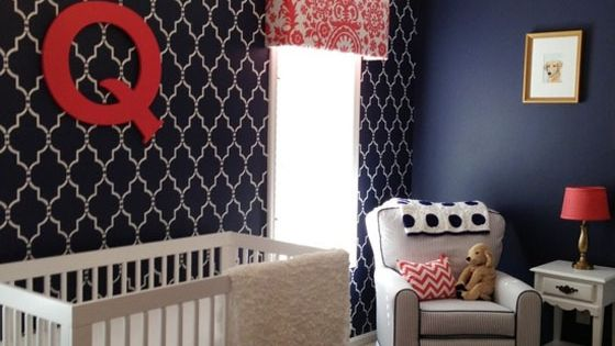 quatrefoil accent wall for nursery \ red, white & blue color scheme.