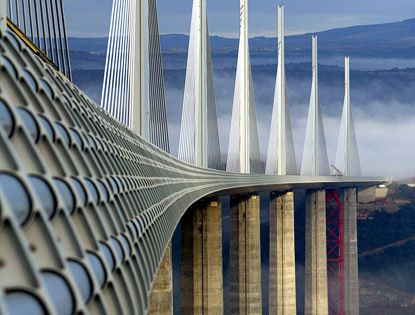 Millau Bridge, France is a cable-stayed road-bridge that spans the valley of