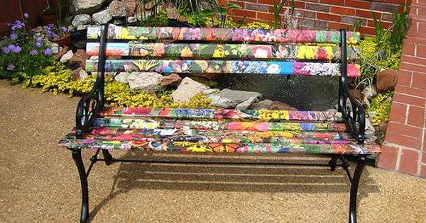 Unique Wooden Bench Decorating Ideas To Personalize Yard Landscaping And Garden Designs Painted Benches Wooden Garden Benches Bench Decor