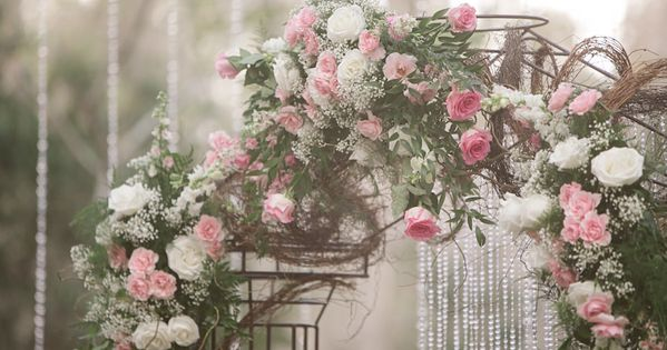 Rustic Glam Gold Pink Outdoor Wedding In The Woods Wedding Archway Rustic Wedding Flowers Wedding Ceremony Arch