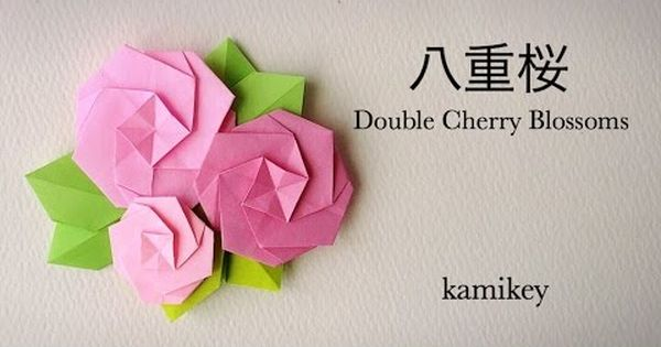 ������� origami double cherry blossoms youtube origami