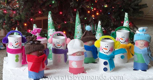 holiday recycle kids crafts | Cardboard Tube Children & Snowmen - Crafts
