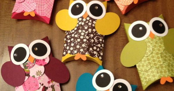 Owl favor box pillowboxes owl birthday party baby shower you pick colors set of 12 favor - Imitation origami owl ...
