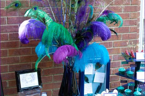 This would be cool by the dessert table. peacock bridal shower ideas