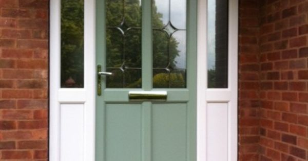 Front door in chartwell green with white upvc side panels for White upvc french doors with side panels