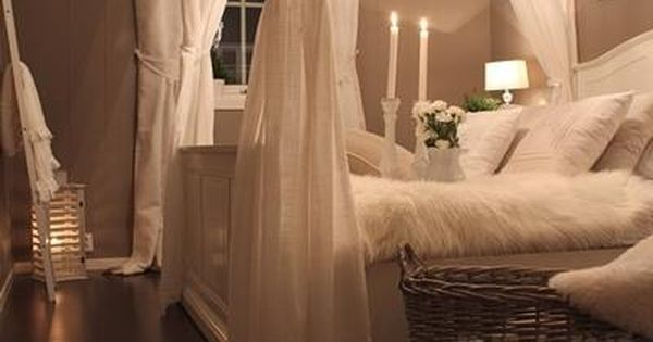 A Romantic master bedroom... love the idea of hanging the curtain rods
