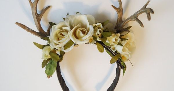 Rites of Spring Deer Antler Floral Hairpiece by sweetmildred