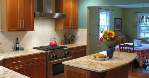 Light Granite With Cherry Cabinets Updated Kitchen Home ...